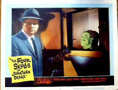 FOUR SKULLS OF JONATHAN DRAKE 1959 US Horror Lobby Card CORPSE HEAD IN CABINET