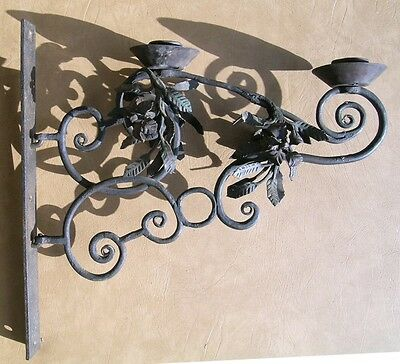 ARTS & CRAFTS hand forged Wall Sconce candlestick 72 SEPERATE FORGED PIECES !