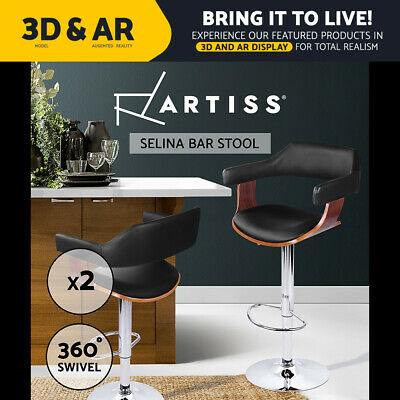Artiss 2x Wooden Bar Stools SELINA Kitchen Swivel Bar Stool Chairs Leather Black