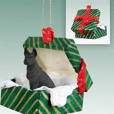 GREAT DANE Black Dog Green Gift Box Christmas Holiday ORNAMENT