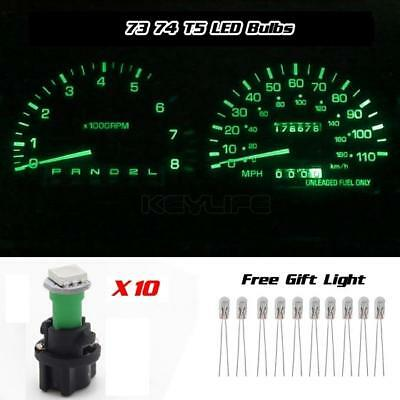 10x PC74 Green T5 SMD Speedometer Cluster Light LED Bulbs + 10 Free Backlights