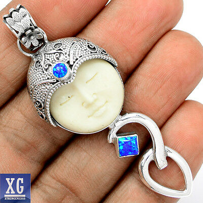 SP113933 FACE CARVED CAMEL BONE & FIRE OPAL 925 STERLING SILVER PENDANT JEWELRY