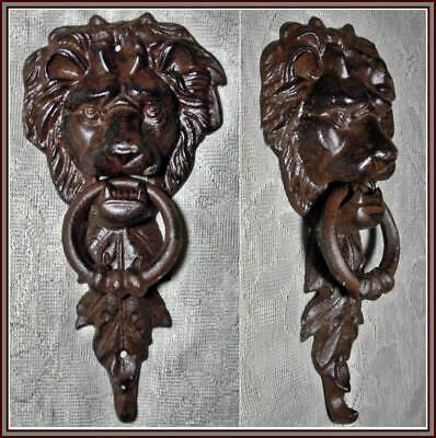 Majestic LION HEAD Cast Iron DOOR KNOCKER ~ Doorknocker ANTIQUED BROWN