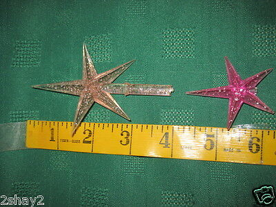 2 VINTAGE 5 POINT STAR CERAMIC CHRISTMAS TREE TOPPERS CELLULOID wSPARKLES INSIDE