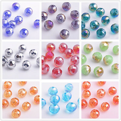 10/50pcs Round 96Faceted Balls Crystal Glass Jewelry Findings Loose Beads 10mm