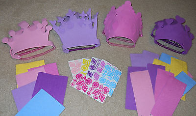 Lot of 12 foam PRINCESS crowns make your own kit birthday crafts pink purple