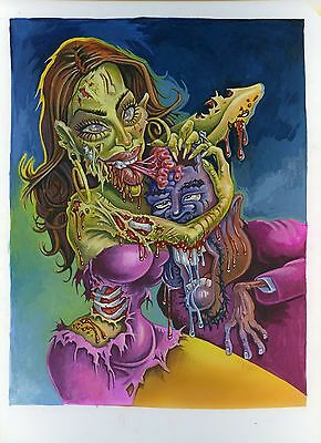 2014 Topps Hollywood Zombies Original Painting Kim Kardashian and Kanye West