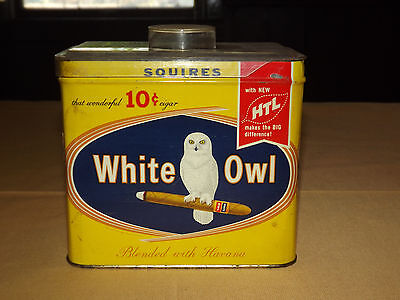 Vintge Old Tobacco 1950S White Owl Cigars 10C Squires Blended Havana Tin Box Can