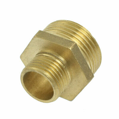 """Pneumatic Air Pipe 1"""" to 1/2"""" M/M Thread Brass Hex Reducing Nipple"""