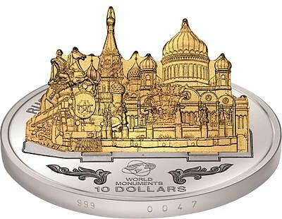 Cook 2013 $10 World Monuments 3D Russia - Famous Landmarks 1oz Silver Proof Coin