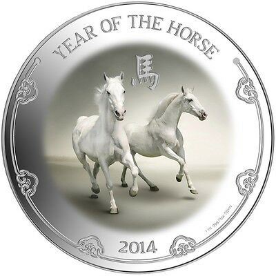 Niue 2014 2$ Year of the Horse White Horses 1 oz Proof Silver Coin