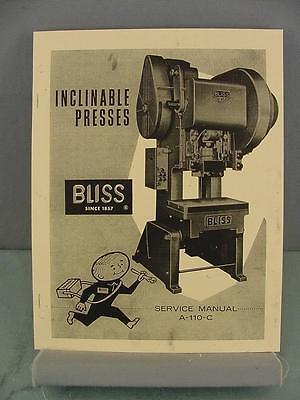 Bliss 60 Ton C-60 Inclinable Press Service Manual
