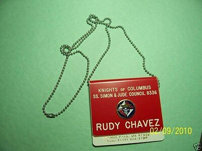 KNIGHTS OF COLUMBUS - Name Tag CHAIN 30 inches
