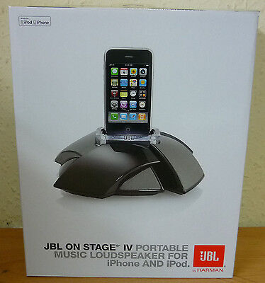 JBL ON STAGE IV 4 PORTABLE iPOD iPhone 3/3GS/4 DOCK SPEAKER SYSTEM - BLACK NEW