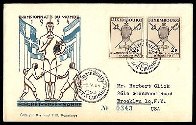Luxembourg 1954 Fencing Cacheted FDC to US Michel 523