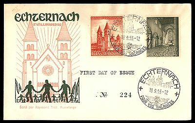 Luxembourg 1953 Echternach Cacheted UA Unsealed FDC Michel 514-515