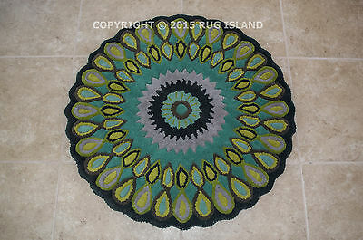 3' Round Contemporary Modern Peacock Blue Green Thick Handmade Wool Area Rug