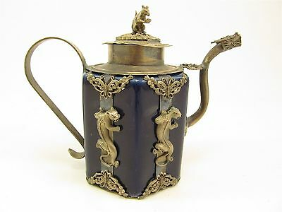 Oriental Blue Ceramic And White Metal/Silver Mounted Decorative Teapot