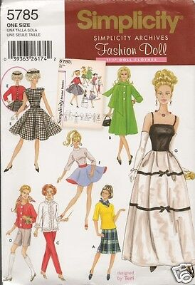 FASHION DOLL 11 1/2 CLOTHES NEW SEWING PATTERN SIMPLICITY 5785