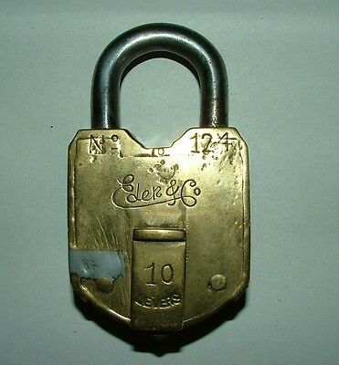 Eder & Co   10 Lever Brass Padlock,  No Key