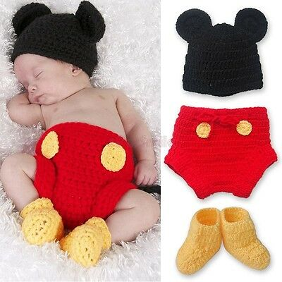 HANDMADE Newborn Baby Boy MICKEY MOUSE Crochet Photo Props Outfit 3Pcs Costume