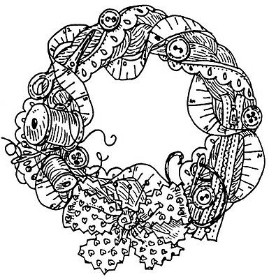 Unmounted Rubber Stamp, Sewing, Thread, Needles, Wreath, Fabric Bow, Crafts