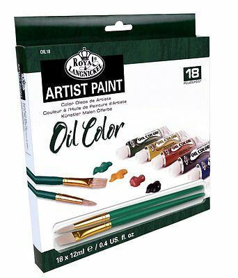Artists Oil Color Paint Art Set Of 18 + 2 Brushes By Royal & Langnickel