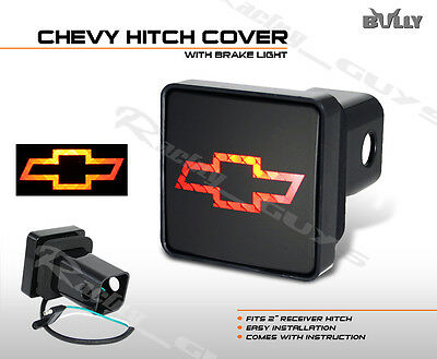 """NEW BULLY 2"""" CHEVROLET BOW TIE LOGO TOW HITCH COVER BRAKE LIGHT LAMP ASSEMBLY"""