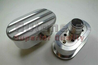 2 Oval Nostalgic Polished Aluminum Valve Cover Breather Cap Finned Push In Style