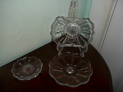 Three small Pieces Heisy Colonial Puritan Style Vintage Glass Dishes