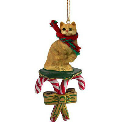 Red Tabby Cat Candy Cane Christmas Tree ORNAMENT
