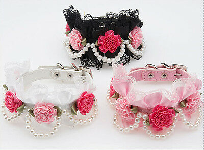 1Pcs Lace Pearl Flower and Rhinestone PU Leather Collar Pet Dog Cat Collars ZXH1