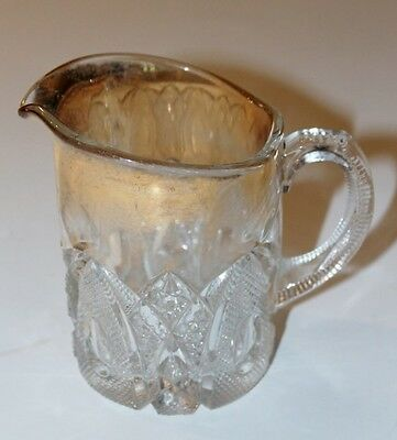 """Vintage New Hampshire  - US Glass #15084 EAPG milk pitcher gold trim 4.75"""" tall"""