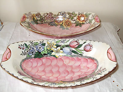 2 Vintage Maling Lustre Oval Dishes 1930's Collection only Stockton on Tees