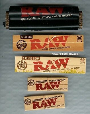 RAW Adjustable 2 way Rolling Machine + ORGANIC & CLASSIC KING SIZE PAPERS + TIPS