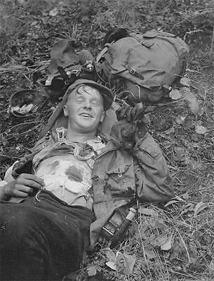 WWII B&W Photo Wounded Finnish Soldier 1941   WW2 / 2158