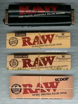 RAW Adjustable Rolling Machine ORGANIC&CLASSIC CONNOISSEUR KING SIZE PAPER +read