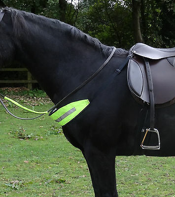 Fluorescent hi viz chest strap - yellow and pink - for horse riding