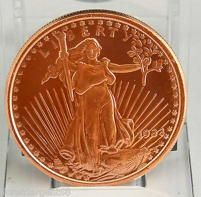Superbe Medaille 1 Once De Cuivre Fin .999  Walking Liberty 1933 M6