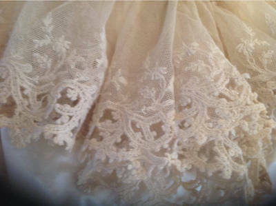 Beautiful Long Length Of Gathered Antique lace circa 1890