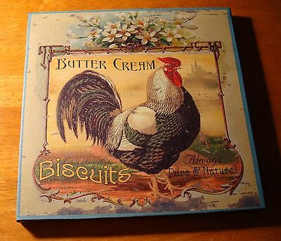 BUTTERCREAM BISCUITS French Country Style Rooster Kitchen Sign Home Decor NEW