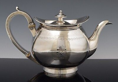 Antique RARE 1802 STERLING SILVER Georgian TEAPOT BARON Crown Armorial Crest NR