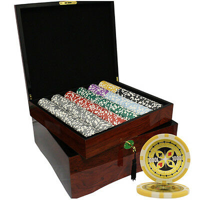 750pcs ULTIMATE POKER CHIPS SET HIGH GLOSS WOOD CASE CUSTOM BUILD