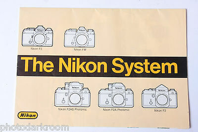 Nikon System Chart Featuring FE FM F2AS F2A F2 Lenses Fold-Out - USED B77