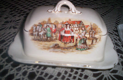 SANDLAND & LANCASTER LIDDED BUTTER with TRAY c1940