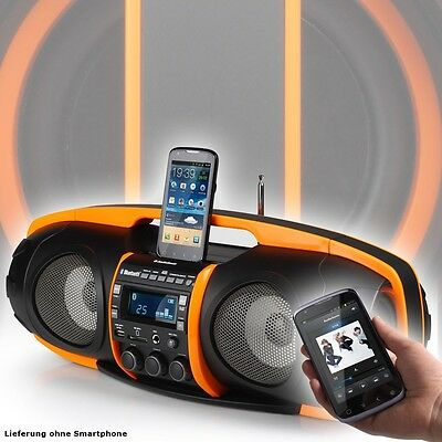 Ghettoblaster Party Bluetooth Boombox SD USB Musik Stereo Anlage orange MP3