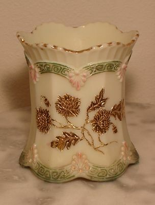 Early Northwood Custard Glass Chrysanthemum Sprig Decorated Spooner