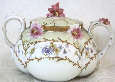 Antique~Flower Encrusted~green Luster Moriage Violets pink Sugar bowl Hand paint