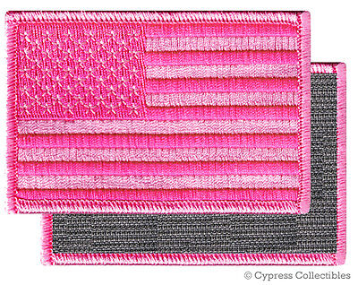 AMERICAN FLAG EMBROIDERED PATCH PINK BREAST CANCER USA w/ VELCRO® Brand Fastener