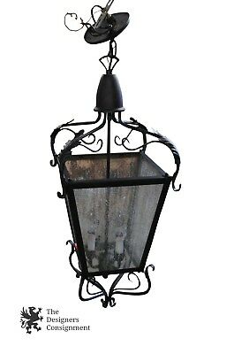 Vintage Wrought Iron Carriage Stained Glass Chandelier Candelabra Contemporary
